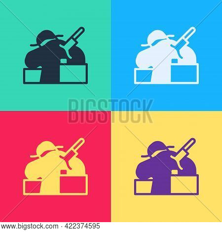 Pop Art Murder Icon Isolated On Color Background. Body, Bleeding, Corpse, Bleeding Icon. Concept Of