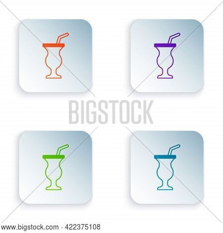 Color Milkshake Icon Isolated On White Background. Plastic Cup With Lid And Straw. Set Colorful Icon