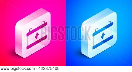 Isometric Car Battery Icon Isolated On Pink And Blue Background. Accumulator Battery Energy Power An