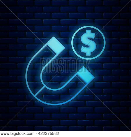 Glowing Neon Magnet With Money Icon Isolated On Brick Wall Background. Concept Of Attracting Investm