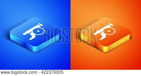 Isometric Ramadan Cannon Icon Isolated On Blue And Orange Background. Square Button. Vector