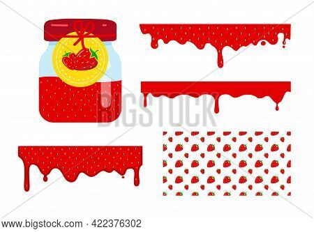 Glass Jar With Label And Red Jam. Flowing Liquid Strawberry Jam. Vector Seamless Pattern