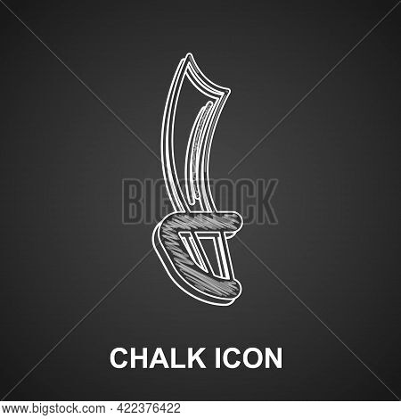 Chalk Pirate Sword Icon Isolated On Black Background. Sabre Sign. Vector