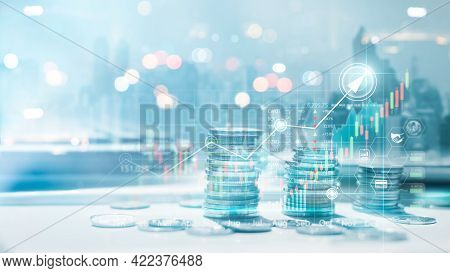 Financial Information On Country Background, Stacks Of Coins With Charts Graphs Stock Market Backgro