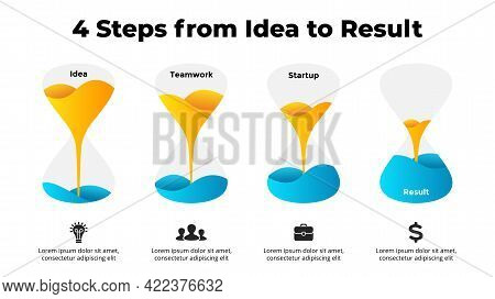 Colorful Vector Hourglass Infographic. Four Steps From Idea To Business Profit. Presentation Slide T