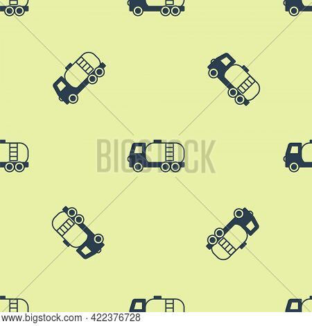 Blue Tanker Truck Icon Isolated Seamless Pattern On Yellow Background. Petroleum Tanker, Petrol Truc