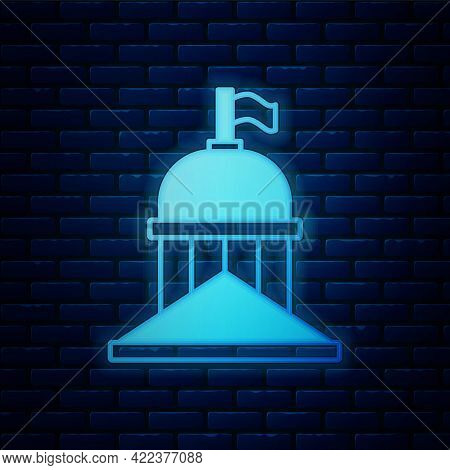 Glowing Neon White House Icon Isolated On Brick Wall Background. Washington Dc. Vector