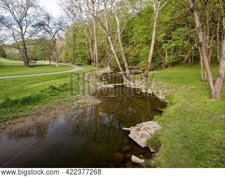 Spring Landscape Nature Scene In Mingo Creek County Park In Washington County In Southwestern Pennsy