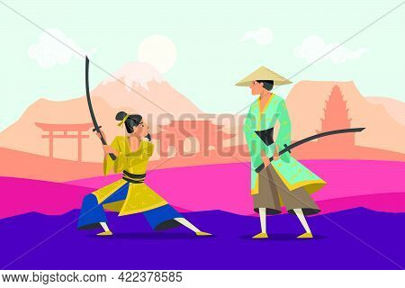 Cartoon Battle Of Two Eastern Warriors In Kimono. Flat Vector Illustration. Samurai Characters Fight