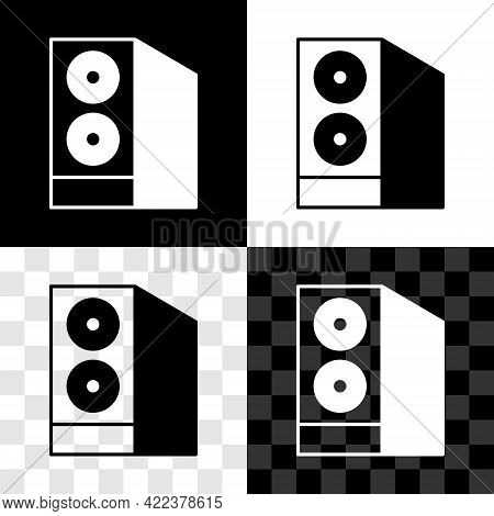 Set Case Of Computer Icon Isolated On Black And White, Transparent Background. Computer Server. Work