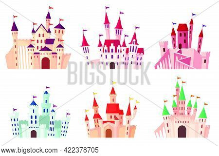 Cartoon Medieval Castles Vector Illustration Set. Collection Of Gothic Towers, Fortified Palaces, Ma