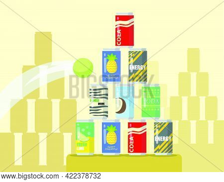 Cartoon Pyramid Of Lemonade Cans Flat Vector Illustration. Tennis Ball Flying Into Pyramid Of Differ