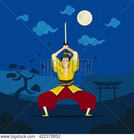 Chinese Or Japanese Warrior In Traditional Kimono. Flat Vector Illustration. Cartoon Male Character