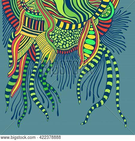 Surreal Colorful Fantasy Abstract Shape, Isolated On Aquamarine Background.