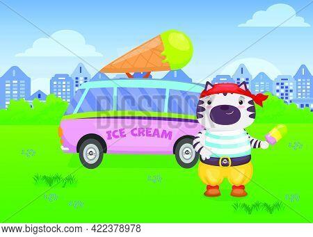 Cute Cat In Pirate Costume Selling Ice Cream In Van Illustration. Happy Dressed Animal With Ice Crea