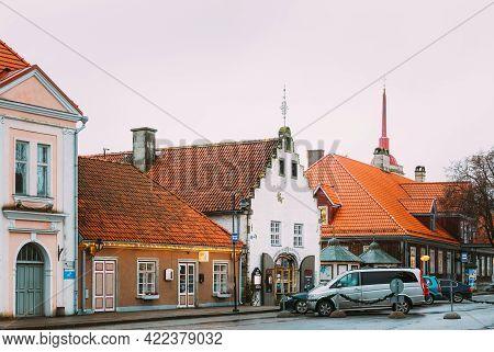 Kuressaare, Estonia - December 16, 2017: Old Gross Weight Storage Building House Near Market In Tall