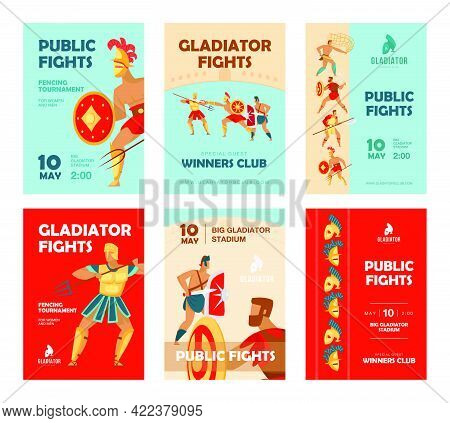 Event Brochure Designs With Gladiators Fighting. Vivid Promotion For Tournament With Ancient Warrior