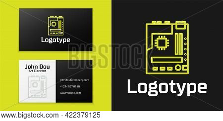 Logotype Line Electronic Computer Components Motherboard Digital Chip Integrated Science Icon Isolat
