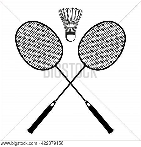 Flat Blac Badminton Racket And Shuttlecock Black Silhouettes, Vector Illustration Isolated On White