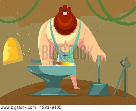 Greek God Hephaestus Forging Iron In His Anvil. Cartoon Vector Illustration. God Blacksmith Working