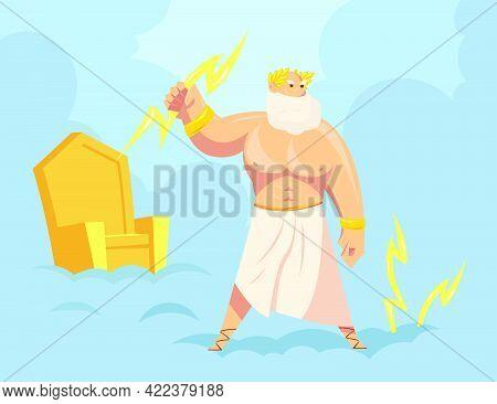 Greek God Zeus Throwing Lightnings From Heaven. Cartoon Vector Illustration. Major Ancient God Of Sk