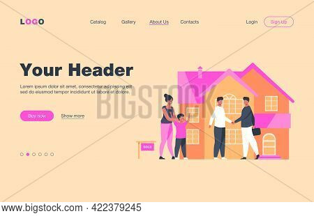 Happy Family With Kid Buying New House. Son, Home, Mortgage Flat Vector Illustration. Real Estate An