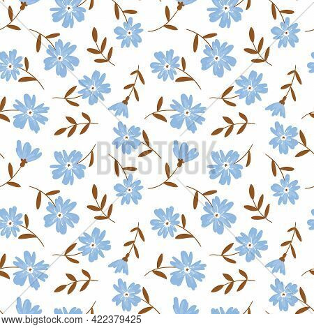 Floral Endless Pattern With Simple Wildflowers On A White Background. Vector Floral Endless Print Fo