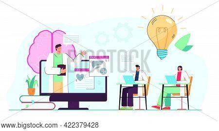 Medical Professionals Watching Webinar On Online Platform. People Having Virtual Class Flat Vector I