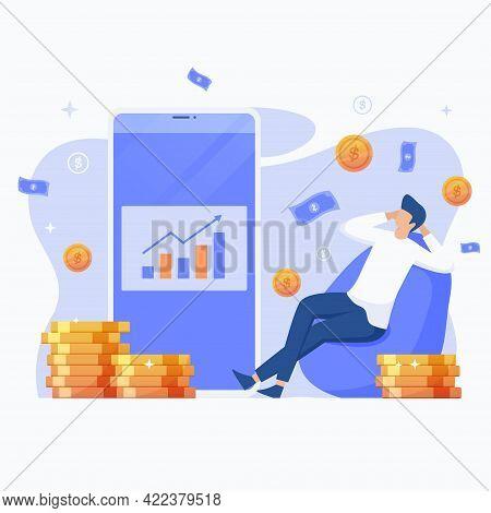 Flat Illustration Of Passive Income