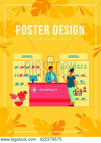 Pharmacy Or Medical Shop Concept. People Buying Medication In Drugstore, Consulting Pharmacist At Ca