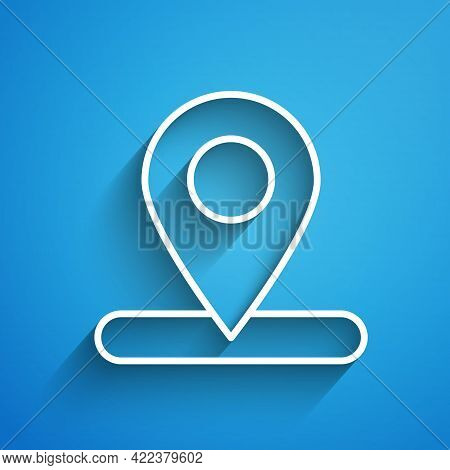 White Line Map Pin Icon Isolated On Blue Background. Navigation, Pointer, Location, Map, Gps, Direct