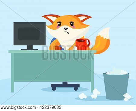 Sad And Tired Cartoon Fox Character Sitting In Office. Flat Vector Illustration. Exhausted Fox Worki