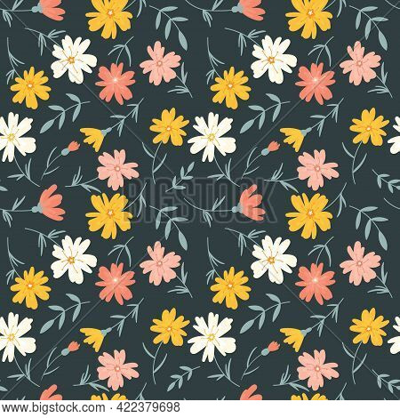 Endless Floral Pattern With Simple Multicolored Flowers On A Dark Green Background. Vector Floral En