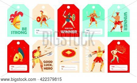 Stylish Special Tag Designs With Coliseum Gladiators. Ancient Spartan Warriors, Swords, Shields On C