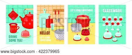 Trendy Poster Designs With Various Kitchen Tools. Vivid Brochures With Kettle, Pot, Cups, Glassware