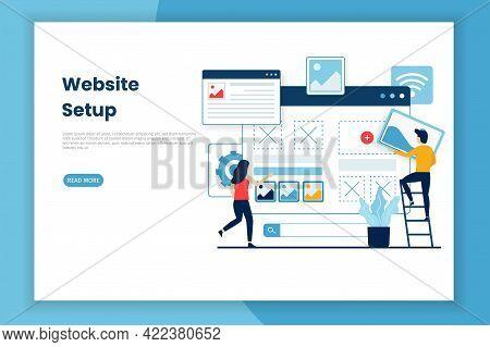 Flat Design Website Setup Illustration Webpage