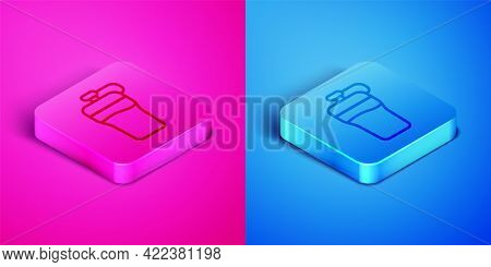 Isometric Line Fitness Shaker Icon Isolated On Pink And Blue Background. Sports Shaker Bottle With L