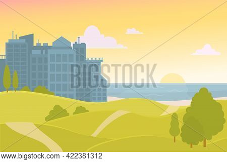 Vector Illustration Of A City From Skyscrapers Against The Backdrop Of The Sea And Sunset. Park With