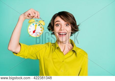 Portrait Of Attractive Cheerful Girl Holding In Hand Childish Funny Clock Good Morning Isolated On B