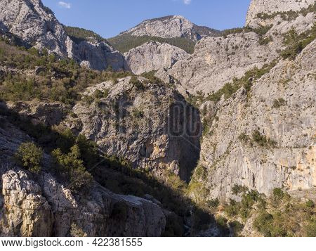 A Great Deep Canyon In Mountains. Aerial Drone Shot Bird Eye View On Sapadere Canyonu, Turkey, Pamph