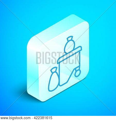 Isometric Line Dumpsters Being Full With Garbage Icon Isolated On Blue Background. Garbage Is Pile L