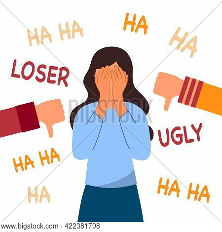Sad Woman With Dislike Hand Gestures And Negative Feedback. Unhappy Female Surrounded By Laughing An