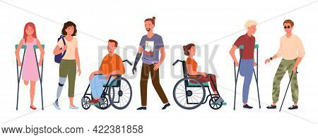 Disabled Handicap People Vector Illustration Set. Cartoon Smiling Man And Woman Patient Handicapped