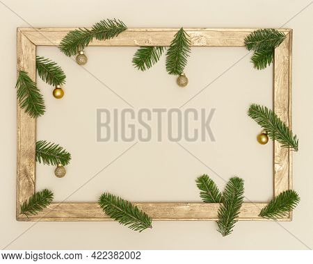 Christmas Old Wooden Frame With Green Fir Tree Branches, Happy New Year Holiday Background With Copy