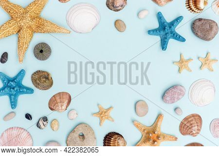Summer Frame From Colorful Sea Stars, Seashells, Shellfishes, Pebble Stones On Pastel Blue With Copy