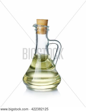 Sunflower Oil In A Glass Bottle Isolated On A White Background.