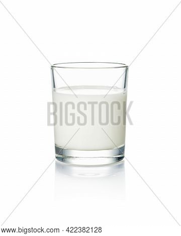Glass Of Milk Isolated On A White Background.