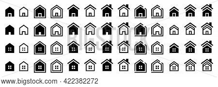 Flat Linear Design. House Icons Set. Web-home - Go To The Main Page. Icon For Applications, Web Site