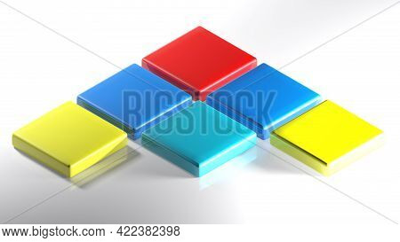 Abstract Icon With A Arrow Made With Colorful Squares - 3d Rendering Illustration