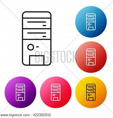 Black Line Computer Icon Isolated On White Background. Pc Component Sign. Set Icons Colorful Circle
